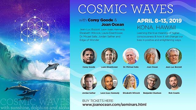 Join #ElizabethWilcock in beautiful #KonaHawaii for #CosmicWaves , a 6-day Seminar hosted by @joanoceanm.s.6960! Registration for the event includes: daily gatherings with the speakers, two 5-hour mornings with dolphins and whales, 2 lunches on the #dolphin boats, All NEW exciting and important info along with films, meditations, galactic geometry, and #cetacean wisdom from Inner Earth to the Stars. Disclosing the latest news from the Alliance, the #Aquatics, insiders, global and extra-planetary politics, #secretspaceprograms, disclosure plans, #SphereBeingalliance , advanced technology, cosmic journeys & much more! Register here: http://joanocean.com/Seminars.html