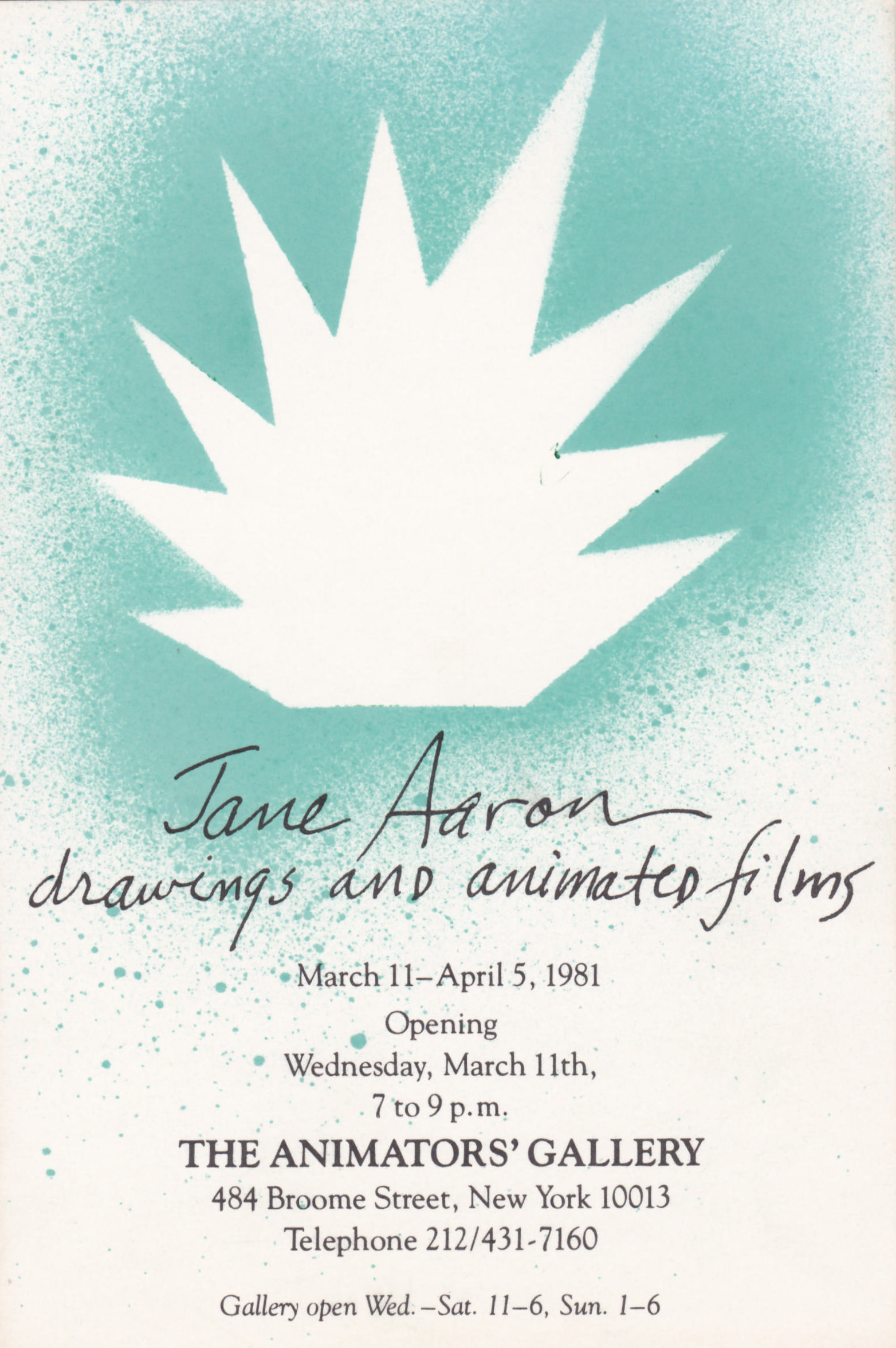 Postcard for Jane Aaron at The Animators Gallery