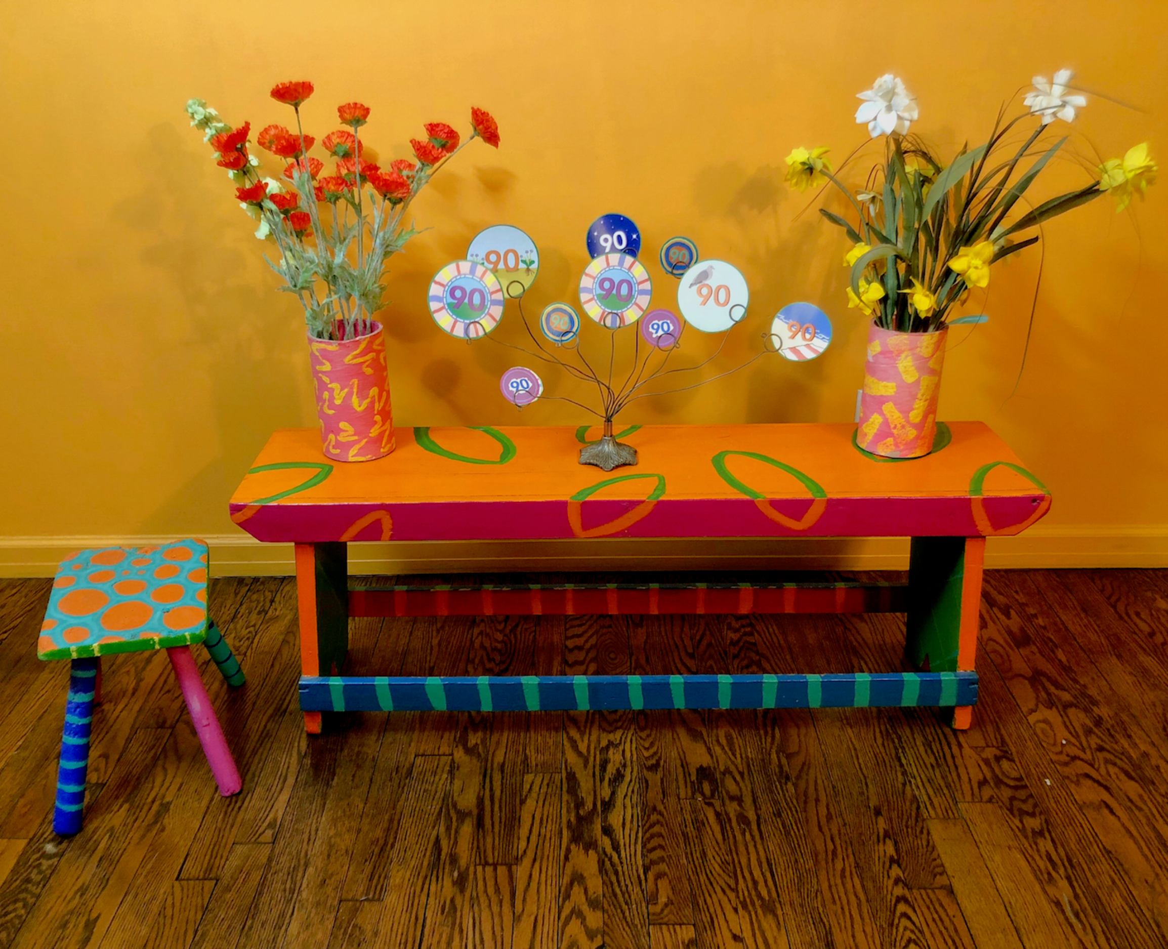 Paper Numbers, Painted Vases and Furniture by Jane Aaron