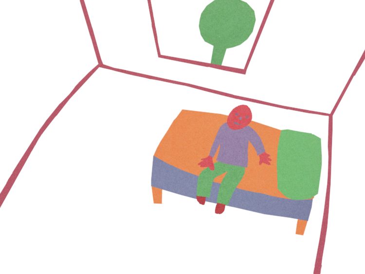 Kid Sitting on the Bed by Jane Aaron
