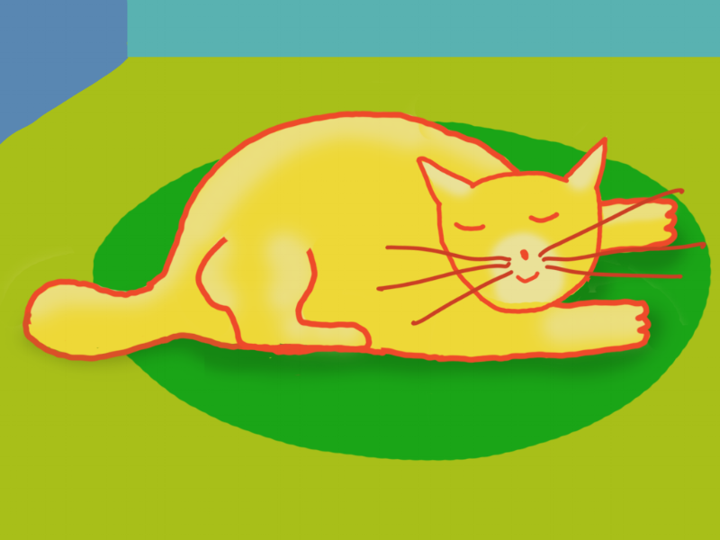 Cat on Green Rug by Jane Aaron
