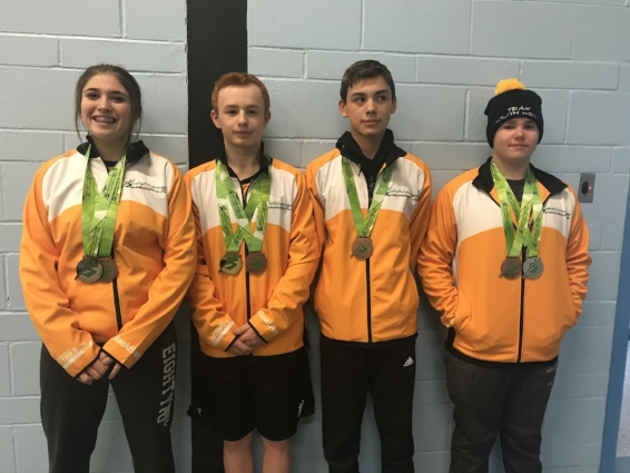 The Four Moose Javian Wrestlers and Their New Jewelry  Hannah Watt, Kyle Yamniuk, Justin Wiens and Connor Rowsell