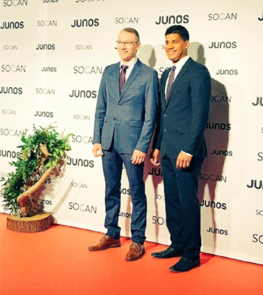 The Dead South's Colton Crawford and Danny Kenyon at the Juno Awards.