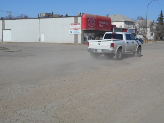 Dust from vehicles is common as vehicles traverse the once heavily travelled thoroughfare
