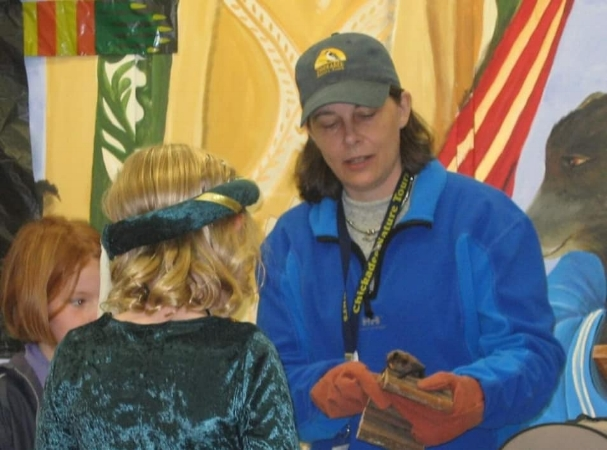 Kimberly Epp with outreach Little Brown Bat, Echo. Circa 2006. Photo via Chickadee Nature Tours.