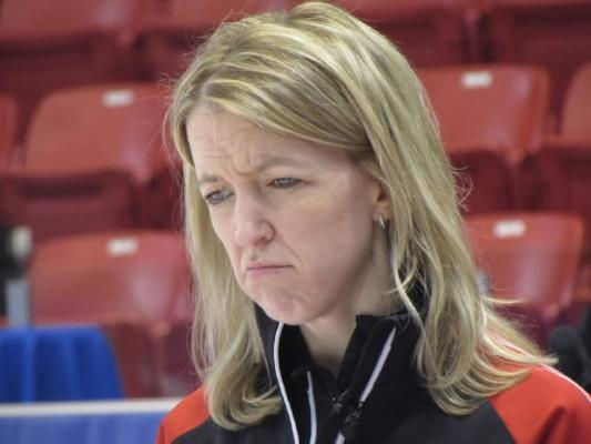 Team Ontario skip Julie Hastings scrutinizing a shot