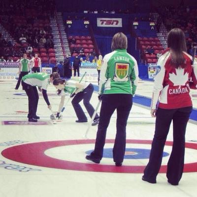 Stefanie Lawton's Team Sask playing against Rachel Homan's Team Ontario