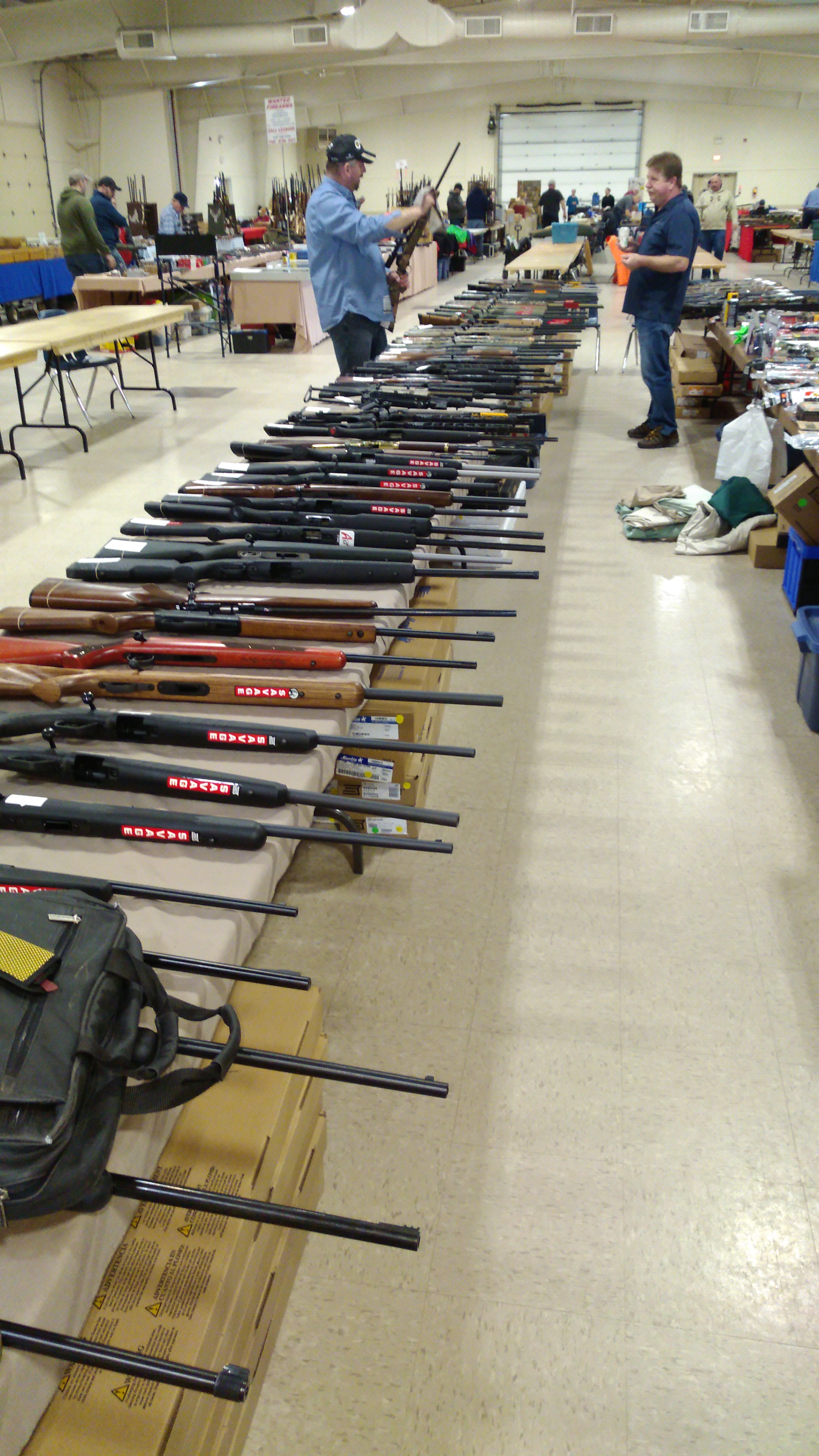 Setting up for the annual gun show on Friday afternoon