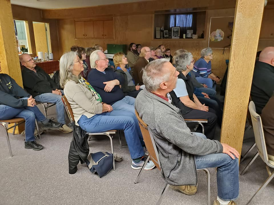 Listening to the talk at the Moose Jaw Nature Society regular member meeting on Friday evening. (Turn up the volume)