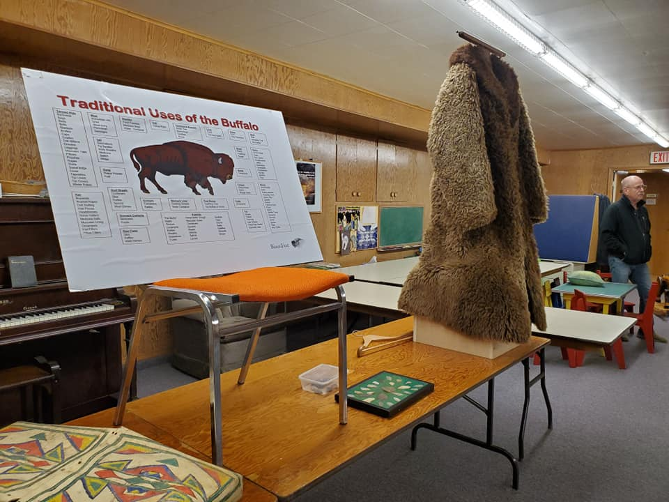 An authentic buffalo coat was on display