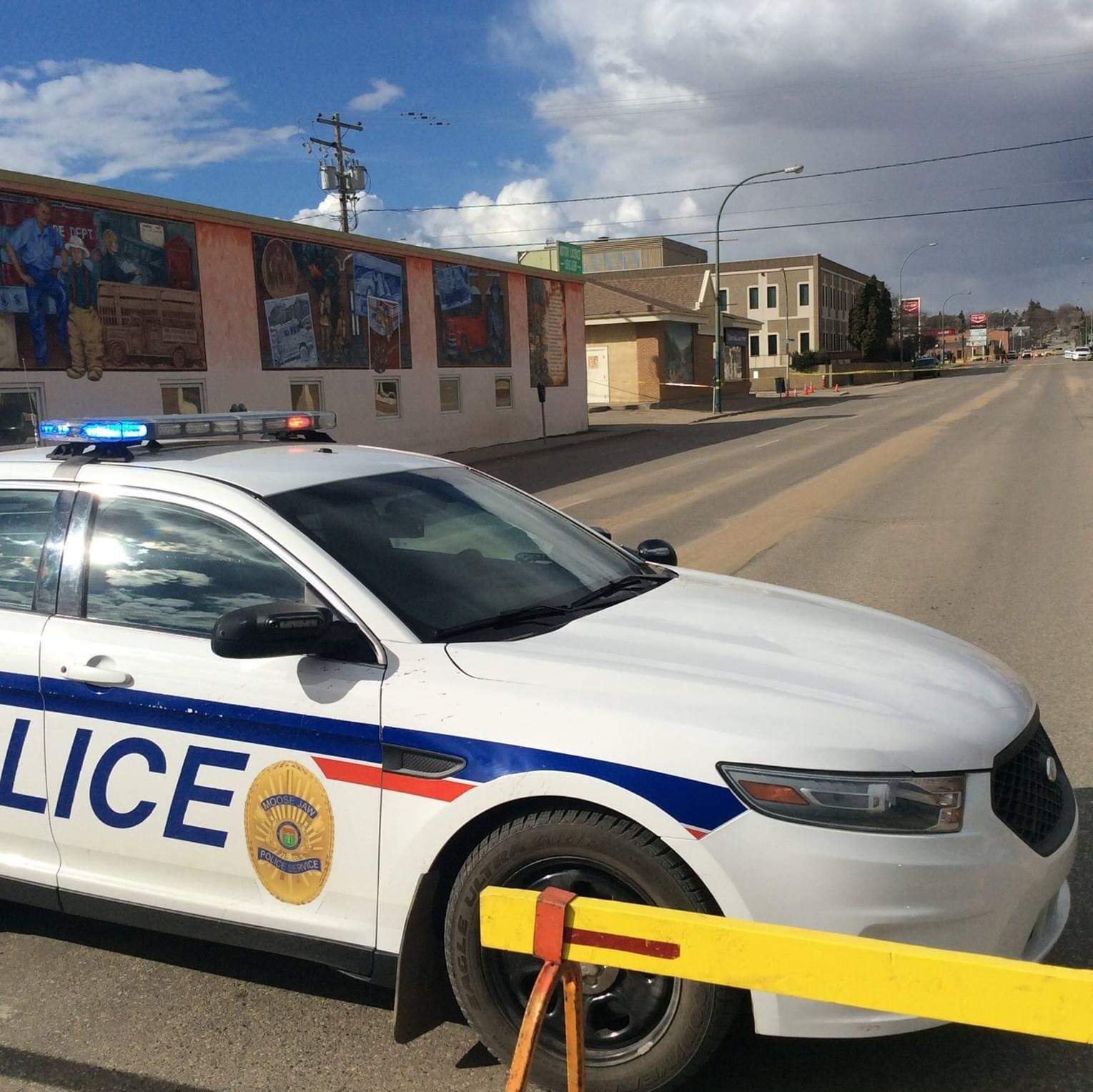 Moose Jaw Police Service vehicle deployed at a potential crime scene - MJ Independent Photo