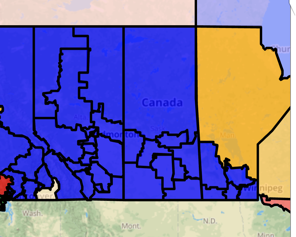 The polls point for the province to be painted Conservative Blue - Courtesy 338Canada.com