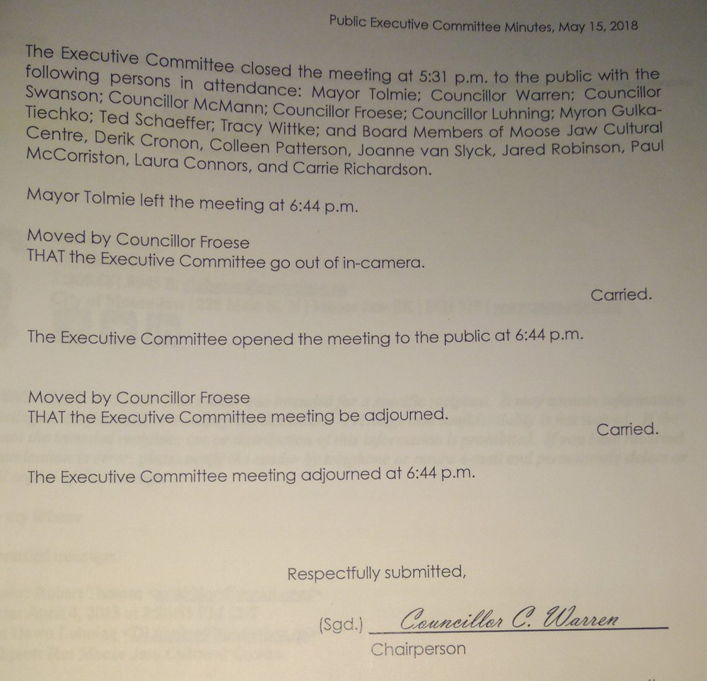 Minutes released showing the attendees of the special May 15, 2018 Executive Committee meeting revealed as part of an FOI