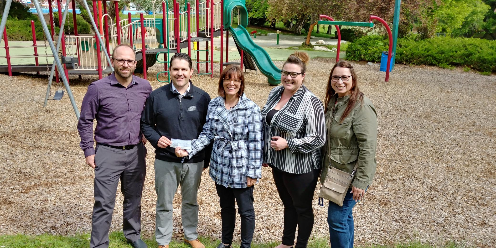 (L-R) City of MJ Parks and Recreation Director Derek Blais, City of MJ Recreation Services Manager Scott Osmachenko, SSFA 55+ Games Chair Crystal Froese, host committee member Amanda Kohl, host committee member Sandra Stewart
