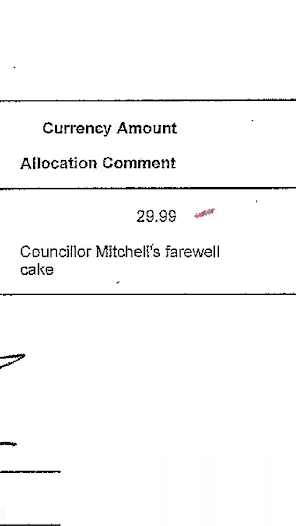 Copy of credit card statement showing the purchase of a farewell cake for long serving Councillor Don Mitchell