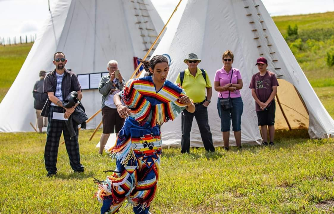 Anthony Getz performs a pow wow dance - Photo by Bob Schultz