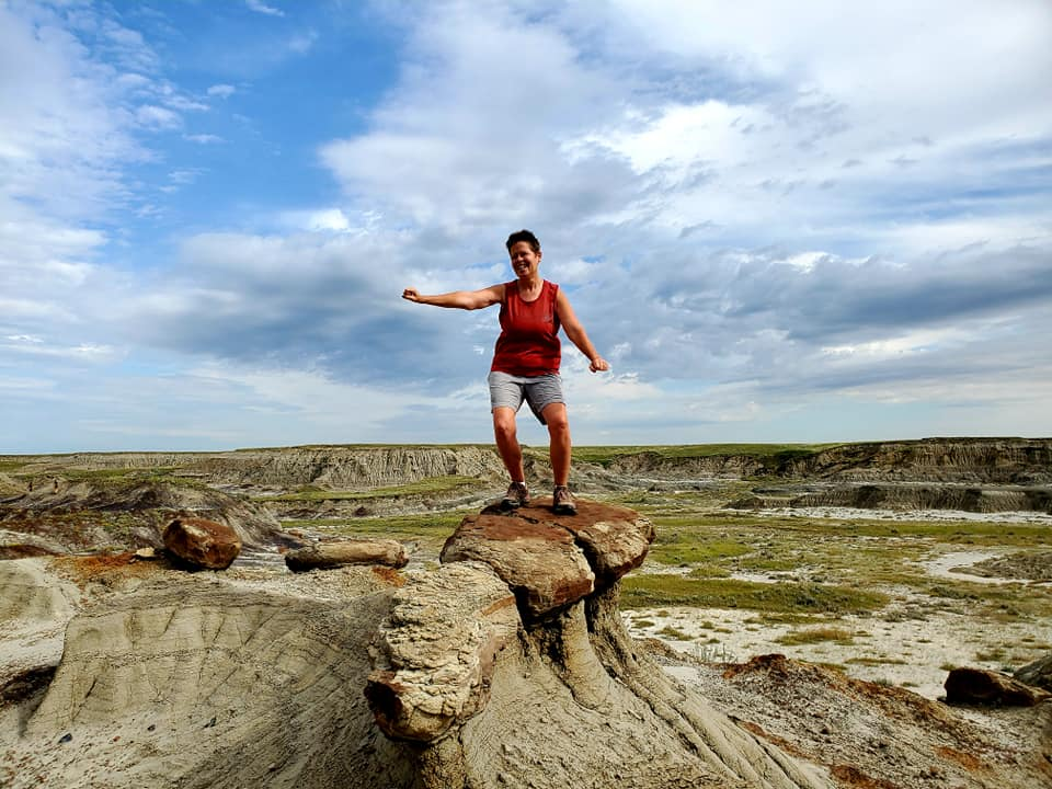 Participant Shelley Zerr surfs the Badlands - photo by Kimberly Epp