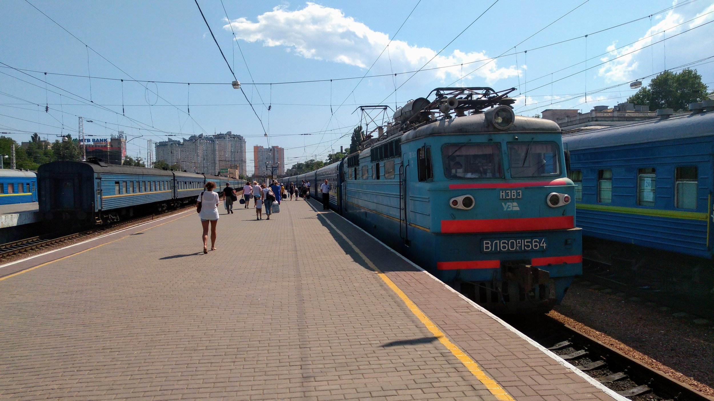 Passenger trains at the central station in Odessa, Ukraine