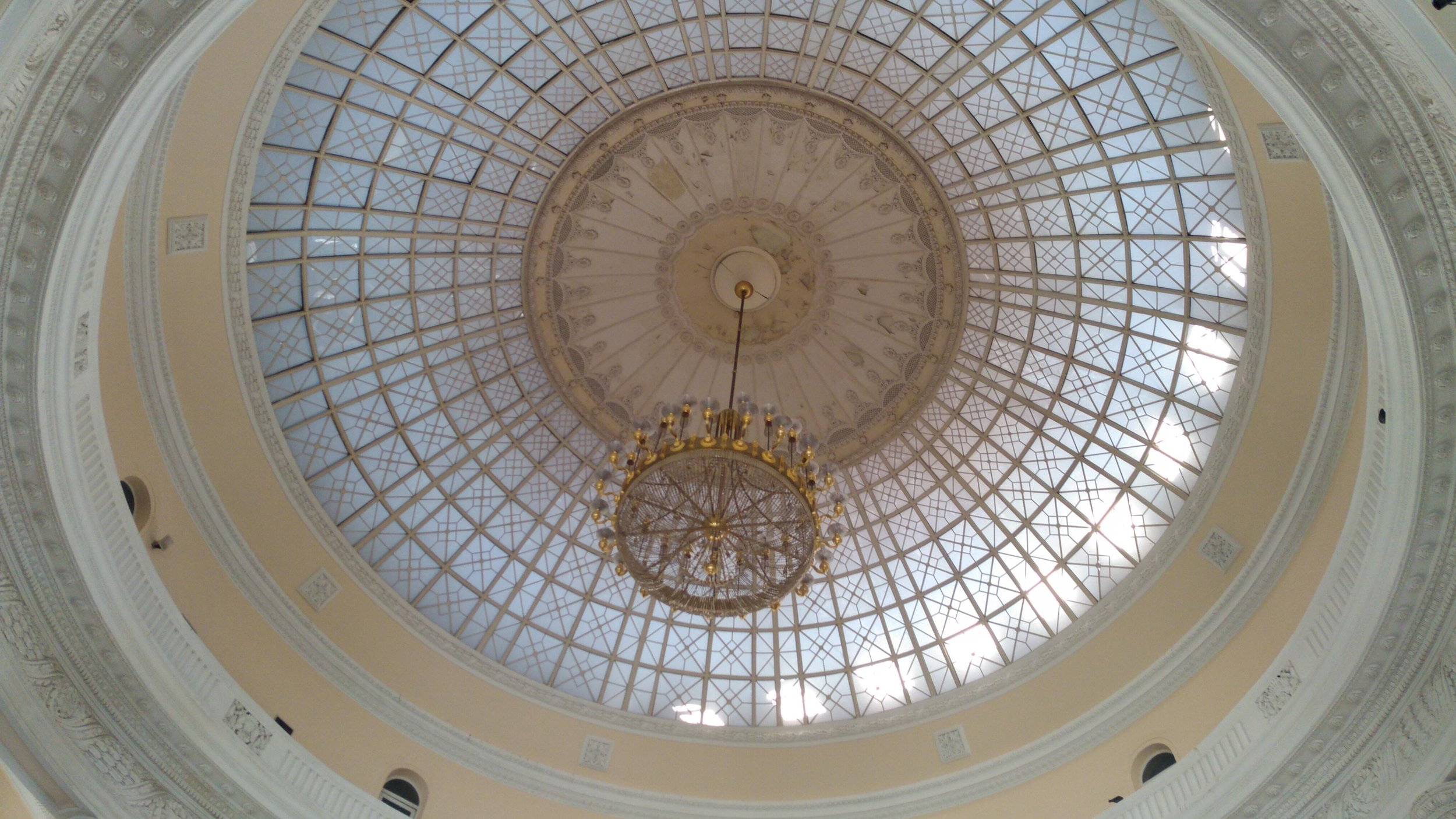 The great ceiling and chandelier in the central Odessa, Ukraine train station