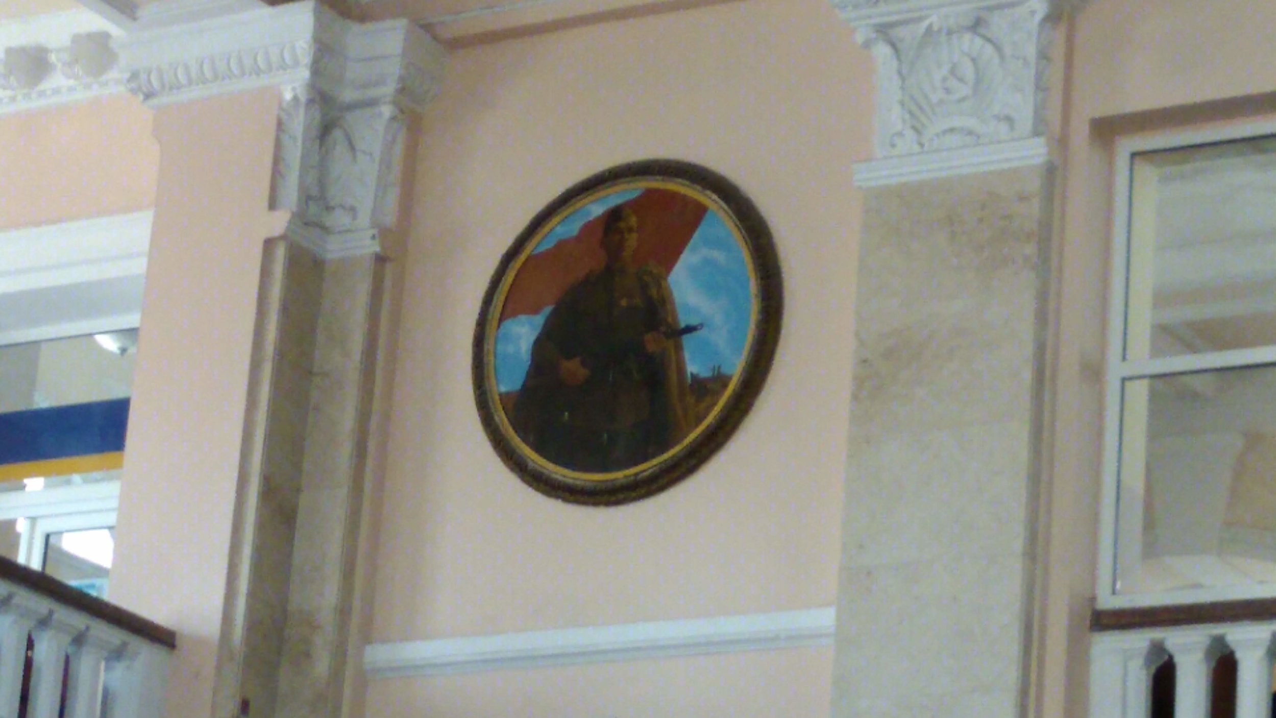 Soviet period portrait in the Odessa, Ukraine central train station