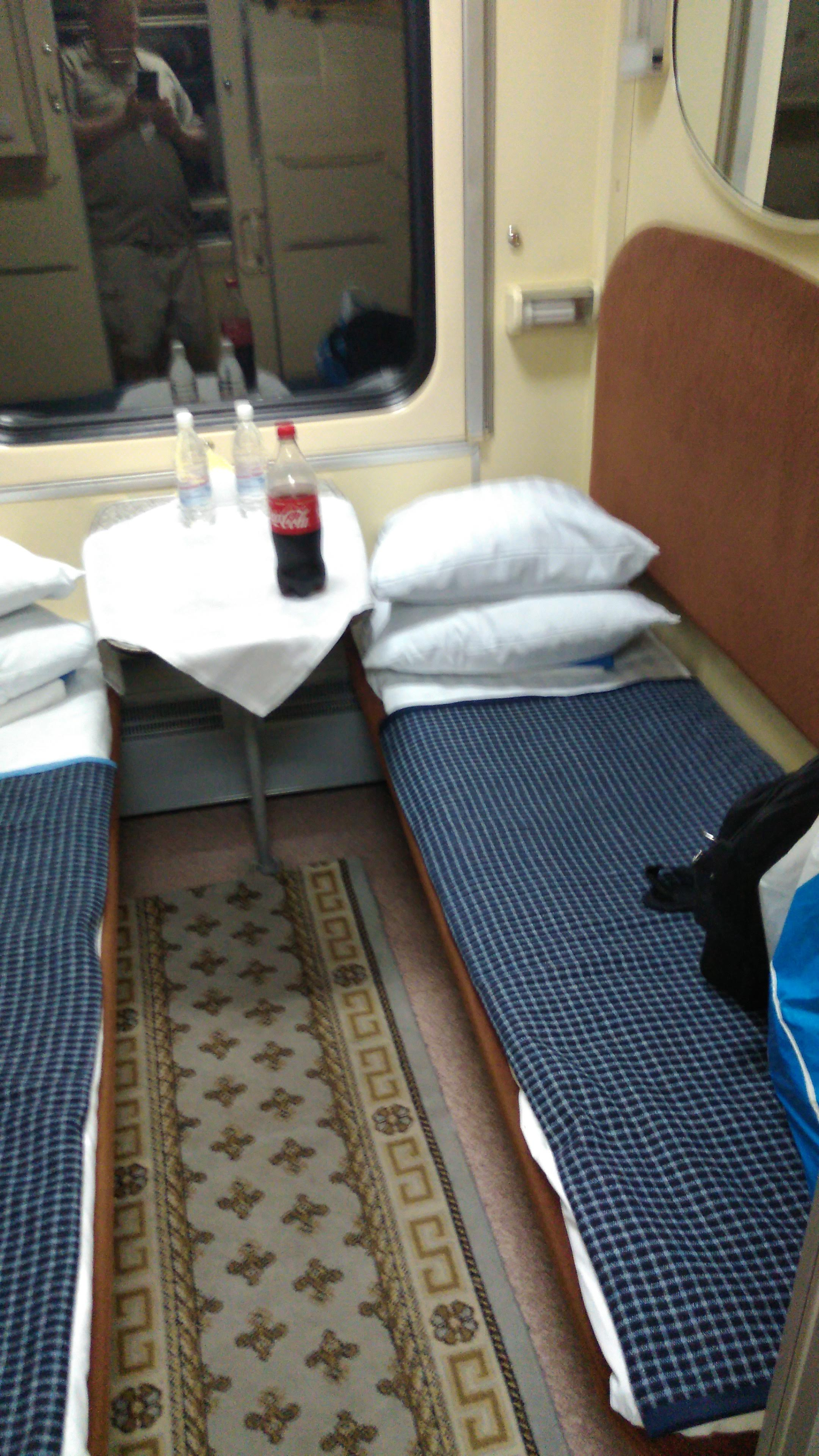 A view of the De Luxe or two berth cabin where you get two pillows