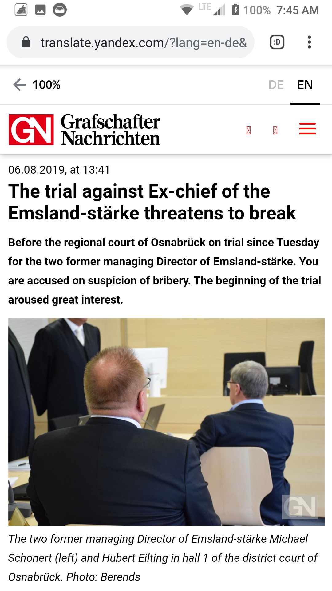 Screenshot and translation from the German press with CPI Director Michael Schoenert on trial for allegations of corruption and bribery.