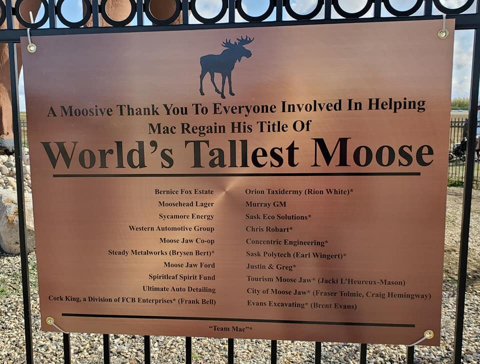 New sign at the site, showing our title has been regained. Moose Jaw is once again home to the world's tallest moose. Photo by Kimberly Epp.