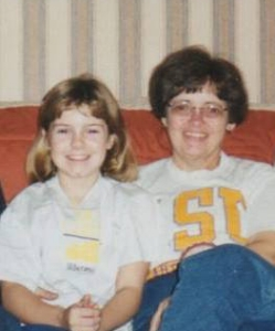 Mom and me in the 1990s