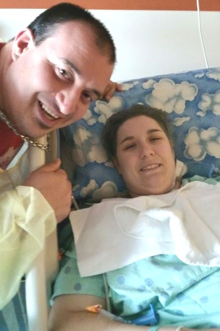Cliff and Charlotte the day after j-pouch removal and permanent ileostomy in June 2015.
