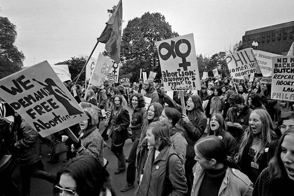 Photo by the Associated Press of a march in Washington, D.C., of women demanding legalized abortion, 1971, via the  New York Times .