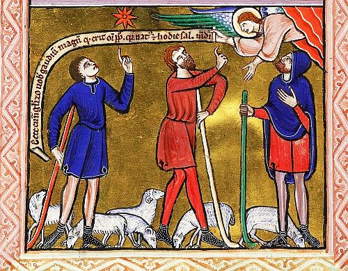 Illuminated ManuscriptAnnunciation to the Shepherds from Prayers (England, S. E. (St Albans), c1240)