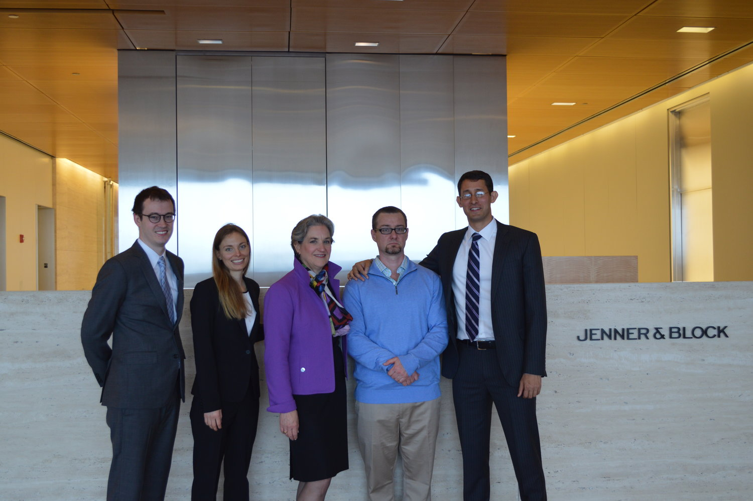 From left:  Associate James Dawson, Associate Julia Mazur (Katten Muchin Rosenman LLP), Partner Terri Mascherin, Adam Gray, Associate Brij Patnaik