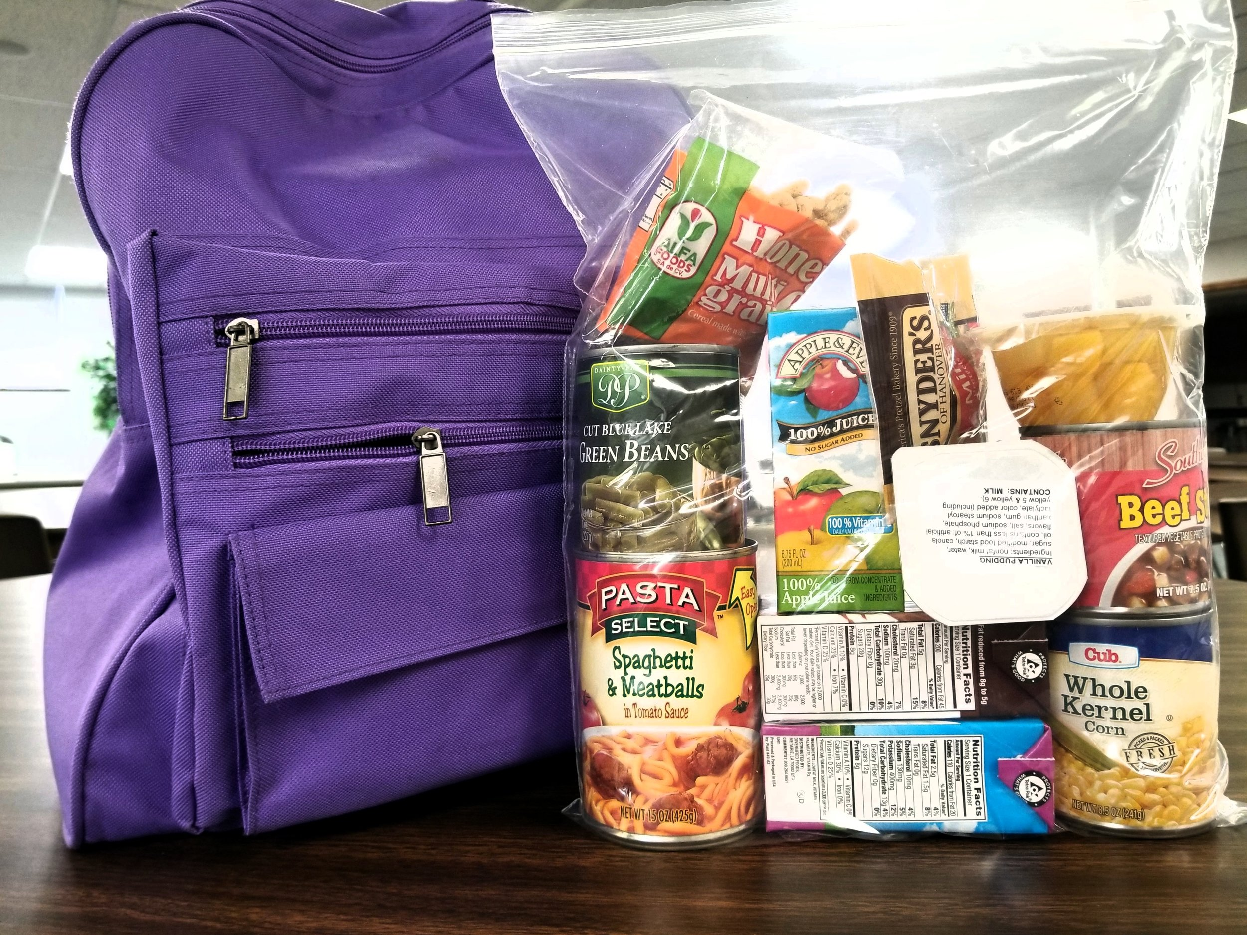 Backpacks Contain - Cans of pasta & meatWhite & chocolate milkJuiceFruit & vegetablesPuddingCerealSnacks