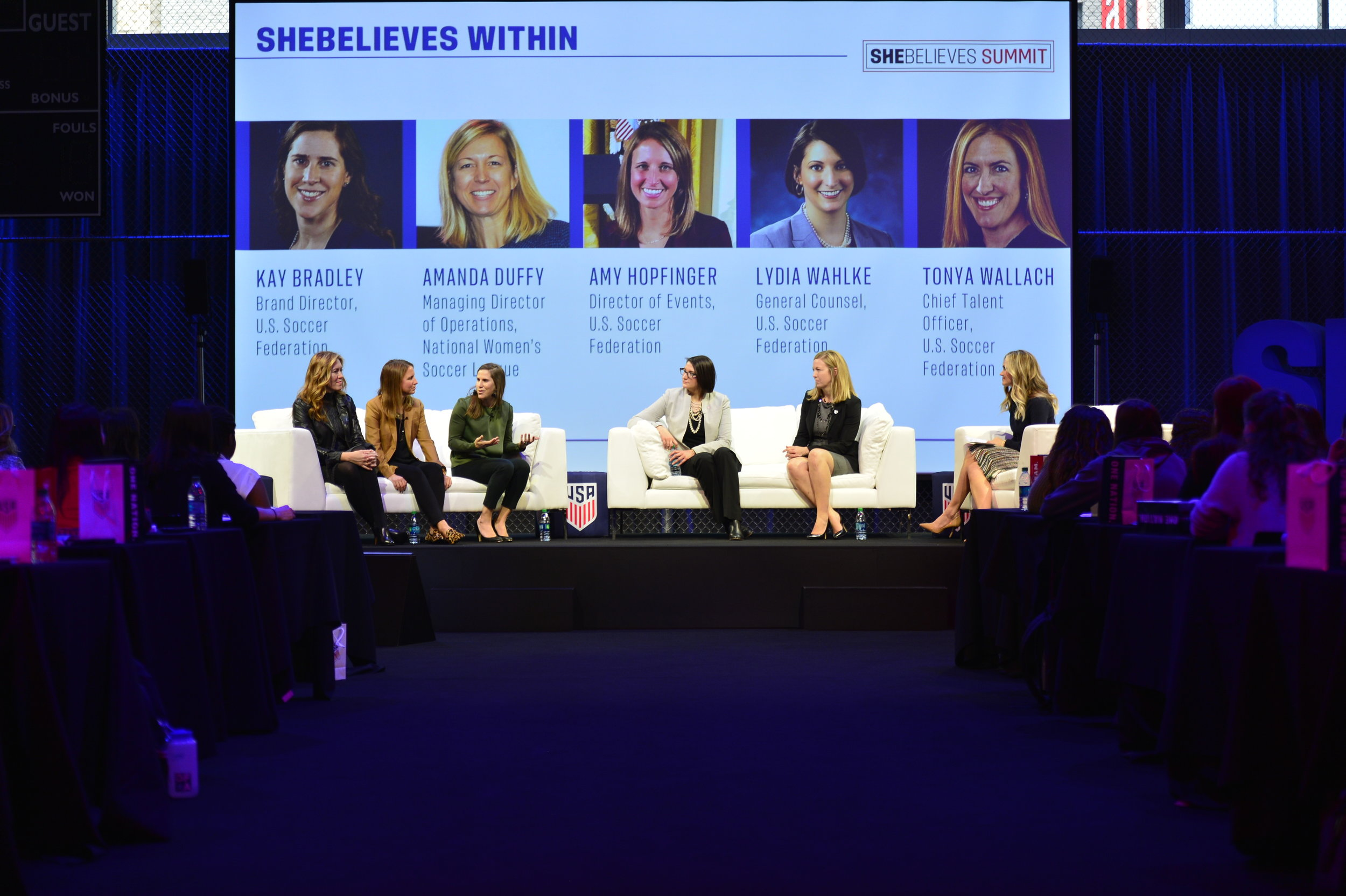 Tonya Wallach (Chief Talent Officer at U.S. Soccer Federation), Amy Hopfinger (Director of Events at U.S. Soccer Federation), Kay Bradley (Brand Director at U.S. Soccer Federation), Lydia Wahlke (General Counsel at U.S. Soccer Federation), and Amanda Duffy (Director of Operations at NWSL) make up the SheBelieves Within Panel highlighting the inception of the SheBelieves movement.
