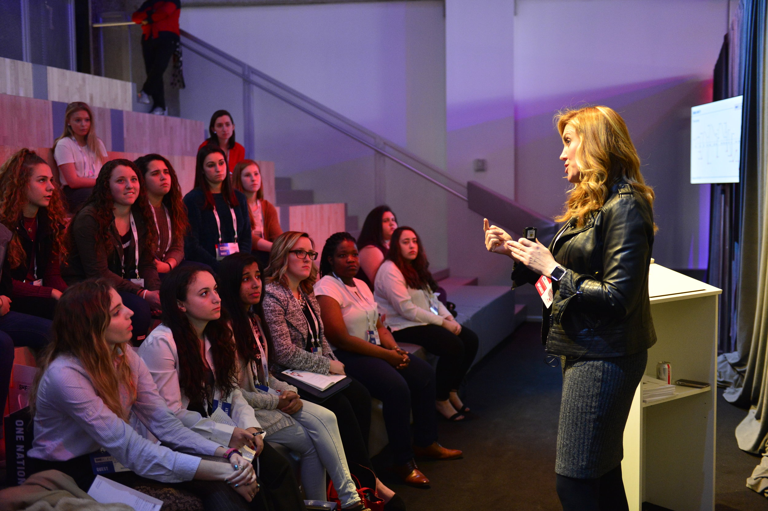 Tonya Wallach, Chief Talent Officer at U.S. Soccer Federation, speaks to attendees about designing your life during the SheBelieves in You breakout session.