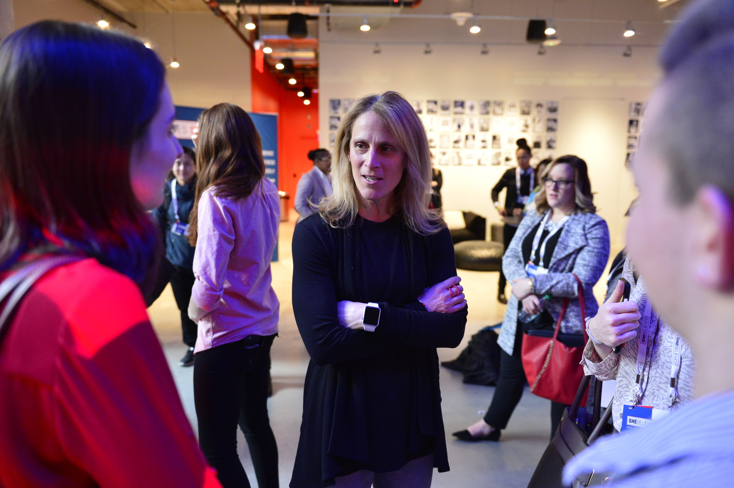Kristine Lilly speaks with SheBelieves Summit attendees.