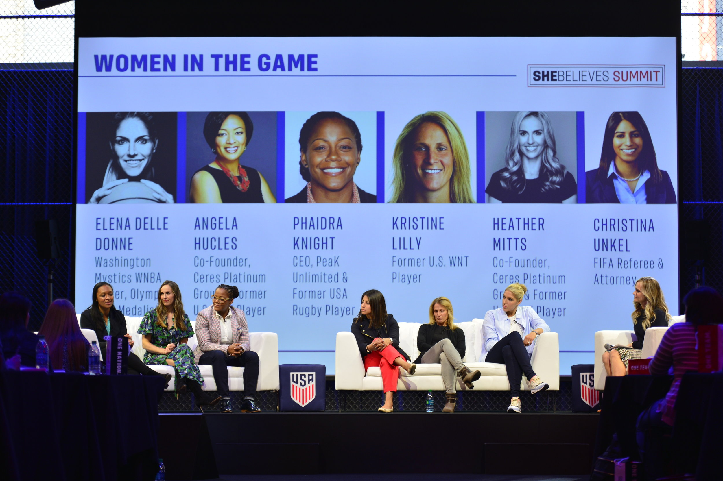 The Women in the Game panel consisting of Angela Hucles (Co-Founder of Ceres Platinum Group and former U.S. WNT player), Heather Mitts (Co-Founder of Ceres Platinum Group and former U.S. WNT player), Phaidra Knight (CEO of Peak Unlimited), Christina Unkel (FIFA Referee and Attorney), Kristine Lilly (former U.S. WNT player), and Elena Della Donne (WNBA player and Olympic Gold Medalist), close out the day speaking about how they put their inspiration into practice on and off the field.