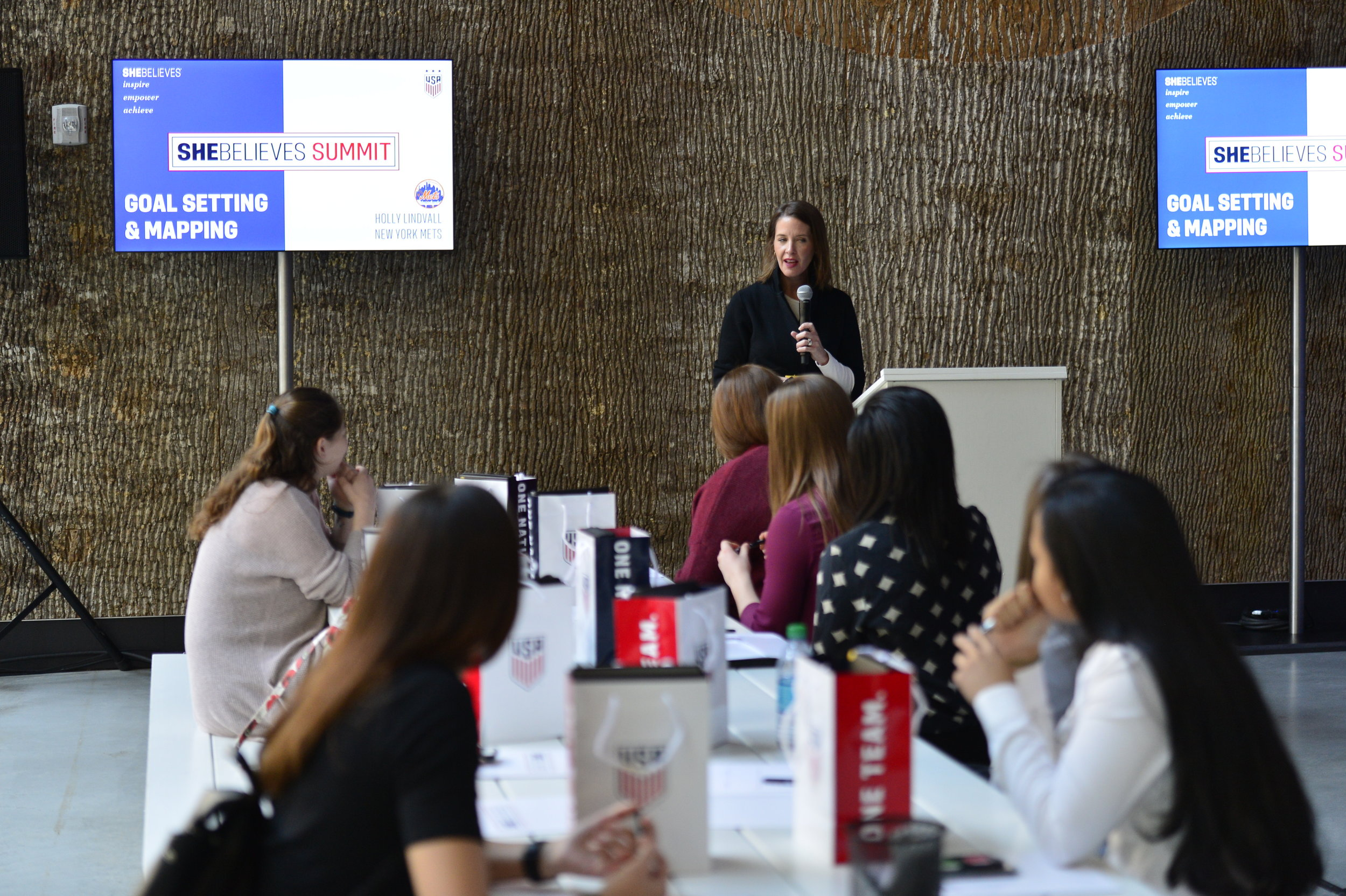 Holly Lindvall, VP of Human Resources and Diversity at NY Mets, speaks about goal setting and mapping in the SheBelieves in Her Abilities breakout session.