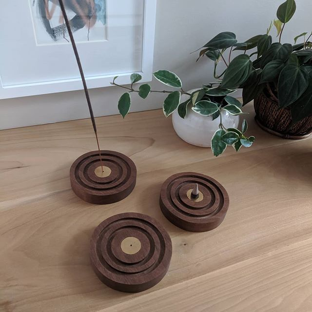 new incense holders 🙌 made with walnut + brass inlay