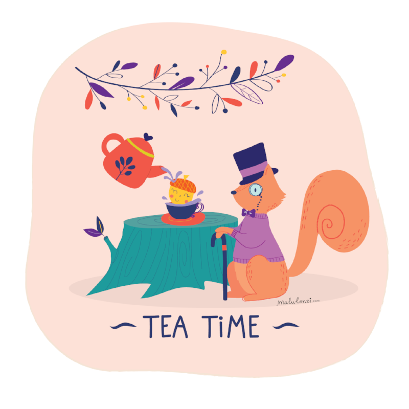 Sir Squirrel does not quite aprove Accorn tea manners ...