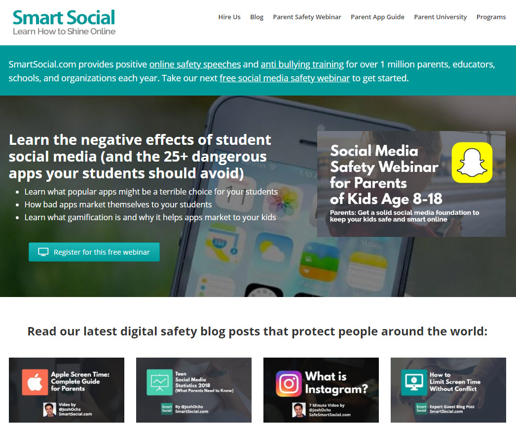 SmartSocial.com helps millions of parents/educators all over the world to keep their kids safe and smart online. MediaLeaders.com build the website and manages it full time with our team of experts.