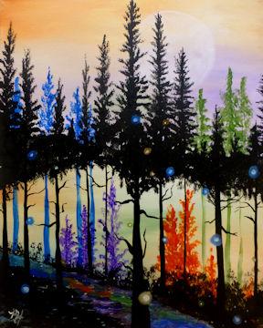 Dreamy Pine Tree Forest