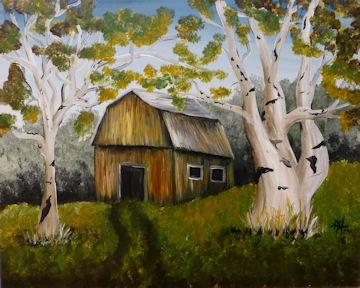 Barn and Birch Trees