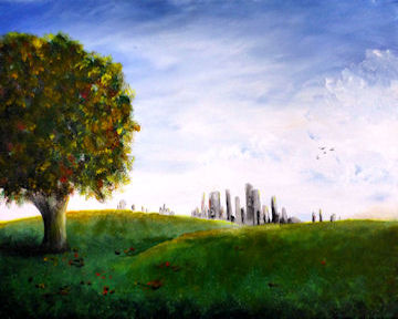 City Skyline over Hill