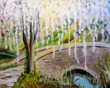 Blossoming Tree over Bridge