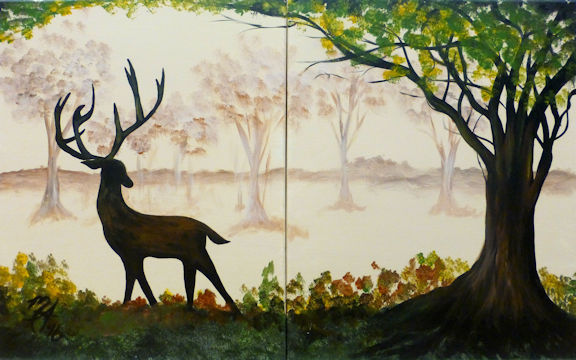 Buck in Woods - Partners Painting