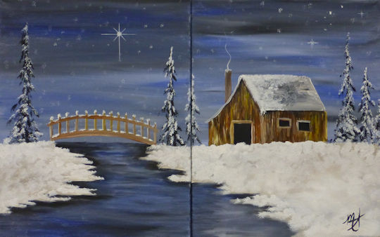 Winter Barn and Bridge - Partners Painting