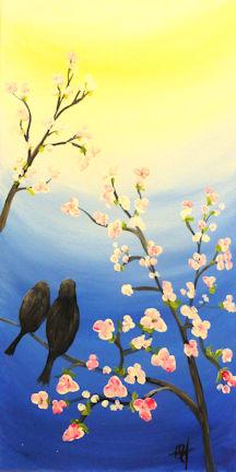 Spring Birds on Branch - 12x24 canvas