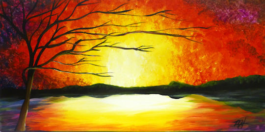 Colorful Sunset - 12x24 canvas