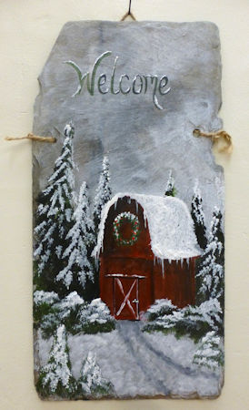 Red Winter Barn Welcome
